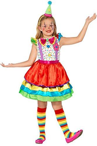 Smiffys Kinder Deluxe Clown Mädchen Kostüm, Kleid und Hut, Größe: S, 45250