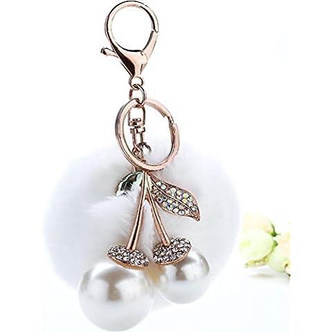 ZPL Catena dei capelli della perla sfera chiave di diamante , white