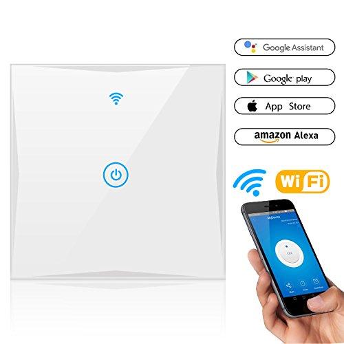 Alexa Smart Lichtschalter, SAINKO 1-Weg WLAN In-Wall gehärtetes Glas Touchscreen-Schalter, arbeitet mit Amazon Alexa und Google Home, Timing-Funktion, Überlastungsschutz (Neutraler Draht und 2,4 GHz WLAN benötigt!)