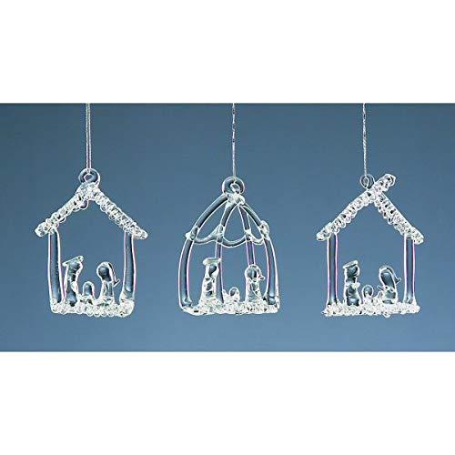 Set Of Three Hanging Glass Nativity Christmas Tree Decorations by Christmas Decorations - Nativity Christmas Set Tree