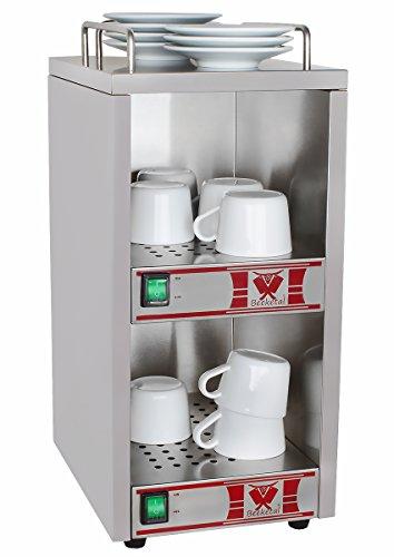 Beeketal \'BTW-1\' Profi Gastro Tassenwärmer elektrisch für bis zu ca. 36 Tassen (je nach Tassengröße), 2 Fächer getrennt regelbar, konstante Wärme mit nur 2 x 70W, (B/T/H): ca. 250 x 320 x 550 mm