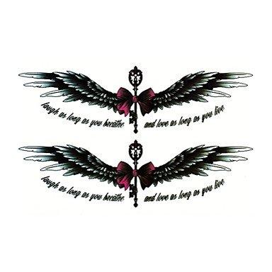 Ailes d'Ange fleur imperméable bow arm tatouages temporaires autocollants paillettes non toxique