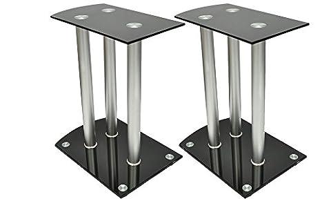 Aluminum Speaker Stands Black Glass 2pcs