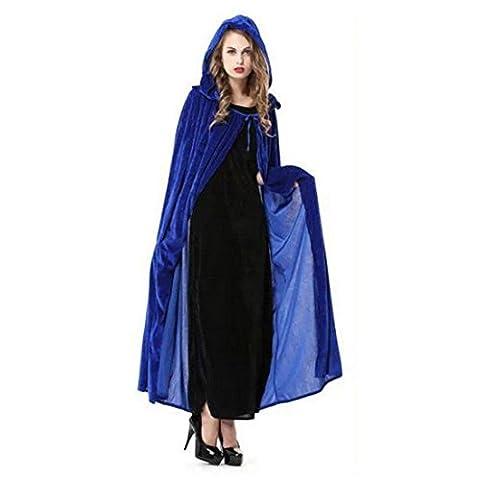 Vertvie Unisex Halloween Velours Robe Sorcière Méiévale Cape Manteau à