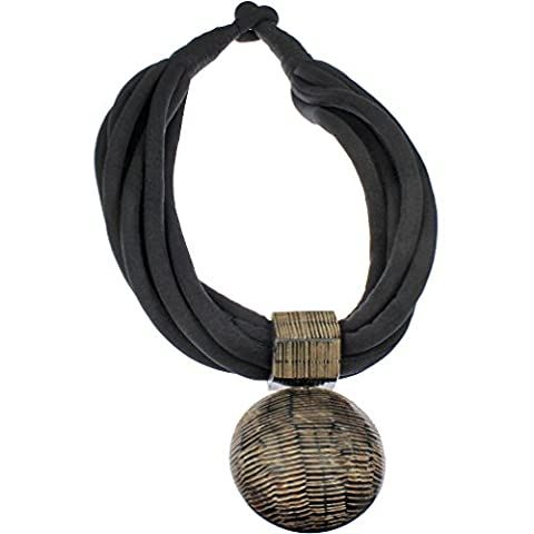Natural buffalo horn tribal style oversized big round brown pendant black fabric choker necklace