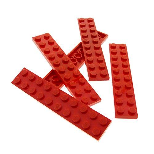 5 x Lego System Leiste Basic Bau Platte Stein rot 2 x...