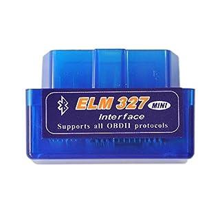 ELM327 Latest Version V2.1 Bluetooth Super Mini ELM327 OBD2 II Scan Tool Car Auto Diagnostic Tool Multi-Language 12Kinds Works ON Android Torque/PC (blue)