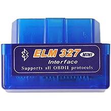 ELM327 Super Mini herramienta de diagnóstico V2,1 Bluetooth OBD2 II, multi-idioma, funciona en Android/PC (azul)