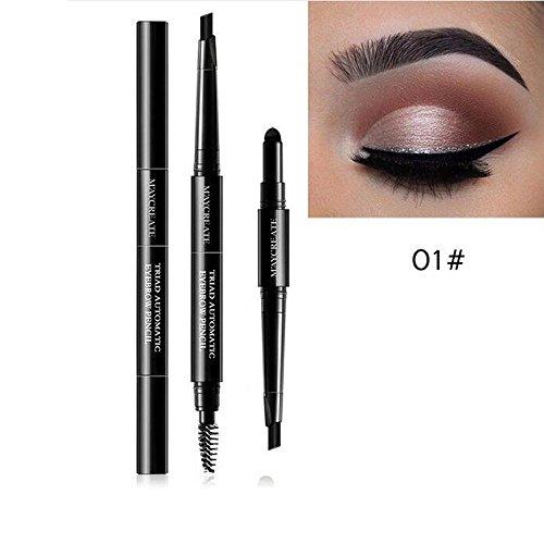 Kit De Maquillage Des Sourcils,Dinglong 3 En 1 ImperméAble Multifonctionnel Crayon à Sourcils Automatique + Poudre + Brosse Pigment Kit De Maquillage De Beauté