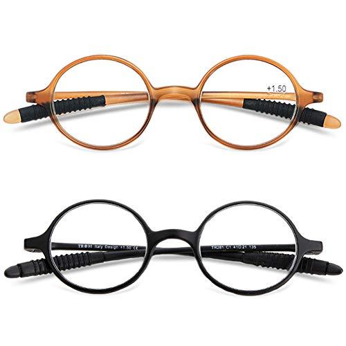 VEVESMUNDO Lesebrillen Damen Herren Lesehilfe Sehhilfe Retro Runde Schmal Flexibel Leicht Nerd Brillen mit Stärke 1.0 1.5 2.0 2.5 3.0 3.5 4.0 (2 Stück Set (Schwarz+braun), 1.25)