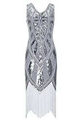 Metme 1920s Vintage Inspired Fringe Embellished Gatsby Flapper Midi Dress Prom Party