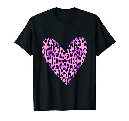 Süßer rosa Gepard Druck auf dem Herzen T-Shirt