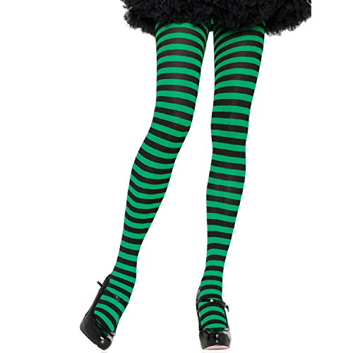 ickdichte Ringel-Strümpfhose Kostüm Damen Karneval, Einheitsgröße, schwarz/kelly grün ()