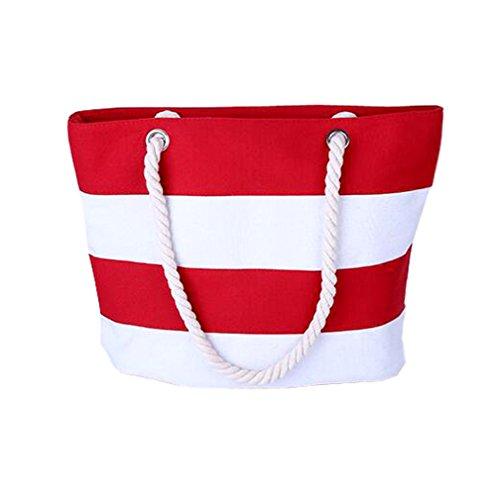 GSPStyle Unisex Canvas Schultertasche Shopper Streifen Strandtasche Henkeltaschen Rot