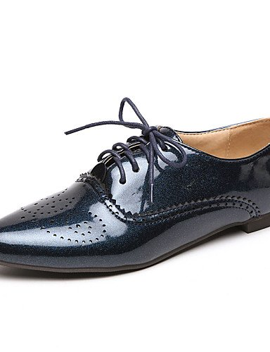 ZQ Scarpe Donna - Stringate - Casual - A punta - Basso - Vernice - Nero / Blu / Bianco , blue-us4-4.5 / eu34 / uk2-2.5 / cn33 , blue-us4-4.5 / eu34 / uk2-2.5 / cn33 black-us5.5 / eu36 / uk3.5 / cn35