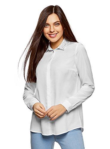 oodji Ultra Damen Bluse mit DEKO Am Kragen, Weiß, DE 32/EU 34/XXS (Cardigan Detail Falte)