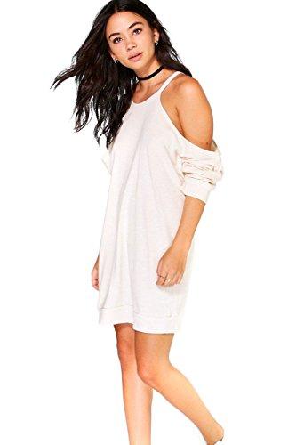 Crème Femme Amber Cold Shoulder Knit Sweet Dress Crème