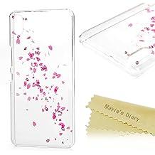 bq Aquaris X5 Funda Transparente Bling Rhinestone Diamantes Crystal Plástico PC Case DIY - Mavis's Diary Diamantes Funda para móvil Carcasa Resistente a los Arañazos Diseño de pétalos de rosa