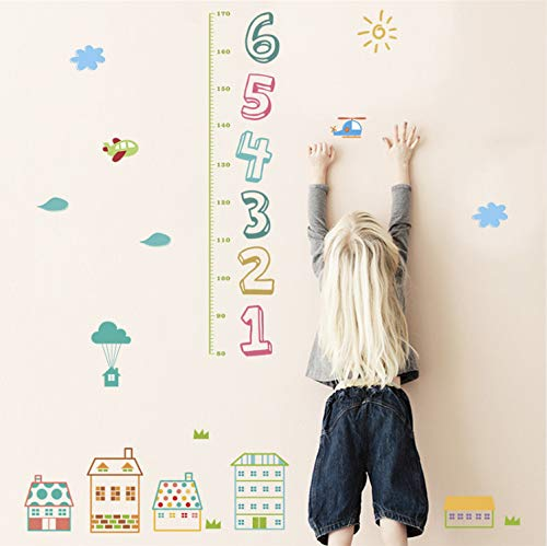 xsongue Cartoon House Children Number Height Measure Wall Stickers for Kids Rooms Home Decor PVC Growth Chart Wall Decals DIY Poster - Chart House-tv