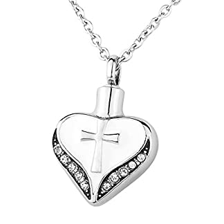 HooAMI Cremation Jewellery Stainless Steel Cross Heart CZ Pendant Memorial Urn Necklace Ashes Keepsakes Engraving Service 41BxI2hPWzL
