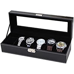 Uhrenbox für 6 Uhren Leder Uhrenkoffer Uhrenschatulle Uhrenvitrine Uhrenkasten Schwarz