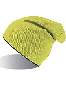 EXTREME NERO-GIALLO FLUO REVERSIBILE LONG BEANIE HAT cuffia lunga cappello BERRETTO IN MAGLIA