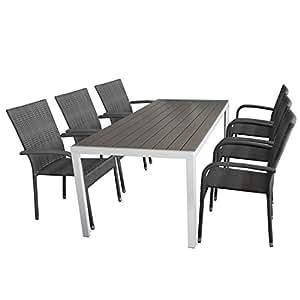 7tlg Gartengarnitur Gartenmöbel Set 205x90cm Gartentisch mit weißen Aluminiumrahmen und Polywood Tischplatte + stapelbarer Rattanstuhl Gartensessel Stapelstuhl mit grauer Polyrattanbespannung