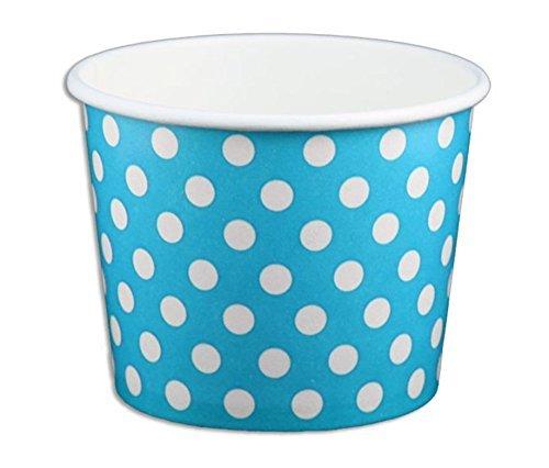 Schwarz Katze Avenue Papier Eis Creme Tassen, Polka Dot, Blau, 12oz, 50Zählen