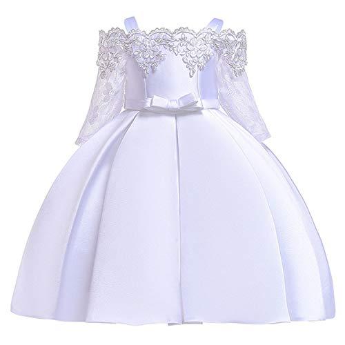 EARIAL& 2019 Summer Kids Dresses for Girls Elegant Princess Dress Children Evening Party Dress Flower Girl Wedding Gown Vestido infantil White 9