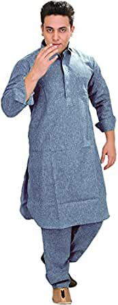 Exotic India Plain Pathani Kurta Salwar with Thread Embroidery on Neck - Color Design BlueGarment Size 36