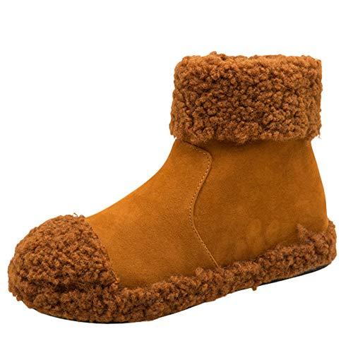 Damen Stiefeletten Wildleder Zehe Keil Schuhe halten warme Reißverschluss-Plüsch-Schnee-Aufladungen,Heißer, Boots Damen Braun