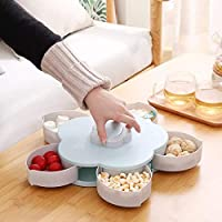 Sevia Rotating Flower Shape Candy Nuts Snack Fruit Plate Tray Five Compartments Organizer Box with Mobile Stand