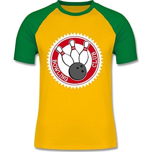 Shirtracer Bowling & Kegeln - Bowling Club Badge Abzeichen - Herren Baseball Shirt Gelb/Grün