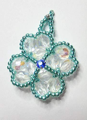 IohanaSchmuck Martisor, Anhänger aus Glasperlen und 1 Swarovski Montee Sapphire, eigene Herstellung