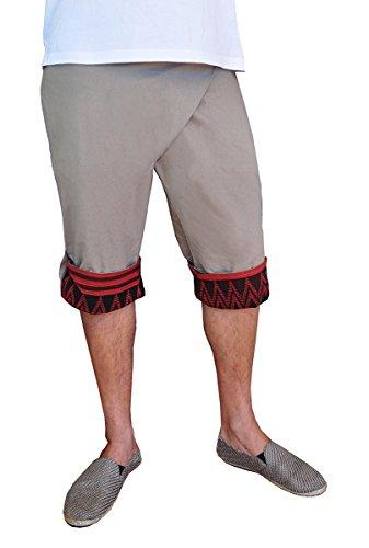 virblatt einzigartige Haremshose für Herren Einheitsgröße S - L Aladinhose mit handgewebten Mustern und bequemen Gummibund – Freundlich (Hanf-yoga-hosen)