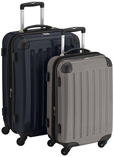 HAUPTSTADTKOFFER - Alex - 2er Koffer-Set Hartschale glänzend, 65 cm + 55 cm, 74 Liter + 42 Liter, Graphit-Blau Schwarz-Graphit