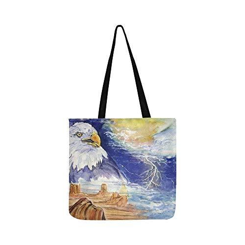 Agle in A Wild Barren Land Under Stormy Sky Canvas Tote Handtasche Schultertasche Crossbody Taschen Geldbörse für Damen und Herren Einkaufstasche