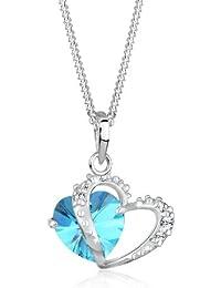 Elli Damen-Kette mit Anhänger Herz 925 Sterling Silber Swarovski Kristall rosa Brillantschliff 0102831813_45