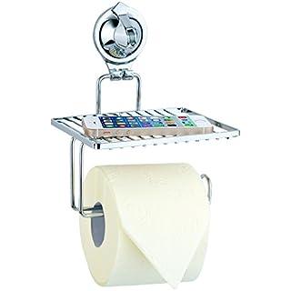 Carlo Milano Toilettenpapierhalter: Toilettenpapier-Halter mit Ablage und Saugnapf, verchromt, kein Bohren (Toilettenrollenhalter)