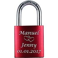 ♥ LoveGoals Liebesschloss mit Gravur | individuell graviert | ideales Geschenk für Paare & Verliebte | hochwertige Geschenkverpackung | Schloss mit 2 Schlüsseln | eloxiert | Motiv M005 | Farbe (Rot)