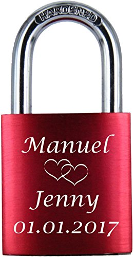 *♥ LoveGoals Liebesschloss mit Gravur | individuell graviert | ideales Geschenk für Paare & Verliebte | hochwertige Geschenkverpackung | Schloss mit 2 Schlüsseln | eloxiert | Motiv M005 | Farbe (Rot)*