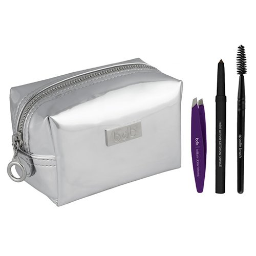Billion Dollar Brows Jet Setter kit Mini universel crayon à sourcils, Spoolie Brosse et pince à épiler en argent Trousse cosmétique