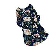 KIMODO Damen Kleid Lang Herbst Blumendruck Minikleid Party Oversize Kleider (Blau, M)