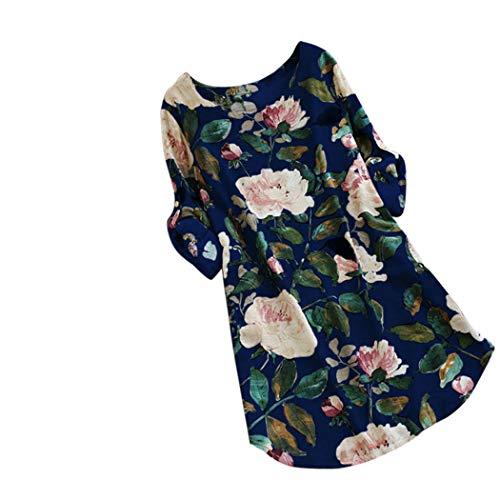 KIMODO Damen Kleid Lang Herbst Blumendruck Minikleid Party Oversize Kleider (Blau, XL)