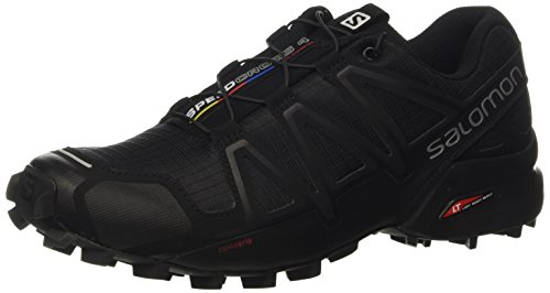 Salomon L38313000, Zapatillas de Trail Running para Hombre, Negro (Black / Black / Black Metallic), 43 1/3 EU