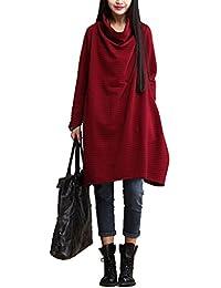LAIKETE Maglione Collo Alto Donna Autunno Inverno Pullover Vestito  Dolcevita Casual Ampi Felpa Manica Lunga Bluse 0401c8e777a