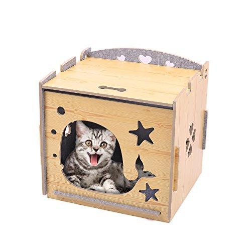 Pawz Road Katzenhöhle Katzenhaus Kuschelhöhle 48.5 * 39 * 48cm Holz Hundehaus Katzenkorb für Kleinen Hund Kätzchen Innen Doppelseitig verfügbar Hohl geschnitztes Design Gelb Oder Grau