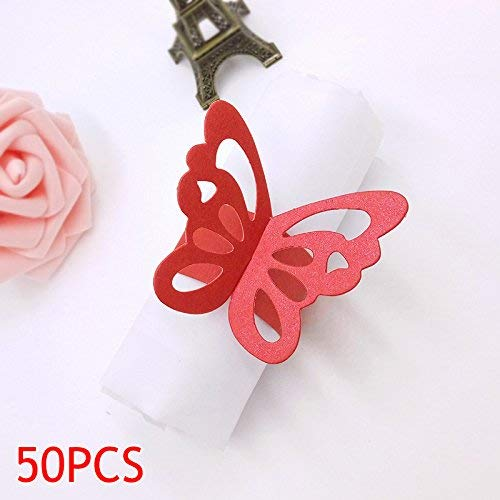 t Schön Schmetterling Papier Servietten Ringe Vorräte für Hochzeit Party Dekoration - Rot ()