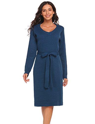 Keland Damen Elegant Strickkleid V Ausschnitt Langarm Slim Fit Etuikleid mit Gürtel Casual Pullover Kleid JerseyKleid