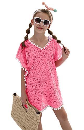 DUSISHIDAN Mädchen Strandkleid Bikini Cover Up Sommer Quaste Strandponcho mit Kleiner Wollball Einheitsgröße Rosa